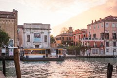 Accademia waterbus stop from the other bank of the Grand Canal, Venice, Italy. View to Accademia waterbus stop from the other bank of the Grand Canal, Venice stock photo