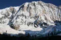 Accampamento basso di Annapurna Fotografie Stock