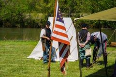 Accampamento delle yankee alla battaglia di Buchanan immagine stock