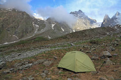 Accampamento di alpinismo Immagine Stock
