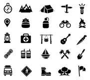 Accampandosi, attività all'aperto, ricreazione, icone Fotografia Stock