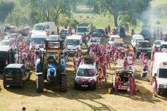 Accampandosi dopo il festival di Haro Wine Festival Immagine Stock