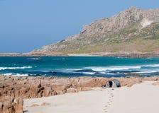 Accampandosi sulla spiaggia in Spagna Fotografia Stock Libera da Diritti