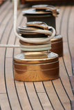 Accastillage de bateau ; Upperworks of boat. Close-up of sailing boat with a winch Stock Image