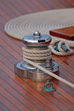 Accastillage de bateau ; Upperworks of boat. Close-up of winch on a sailing boat Stock Photo
