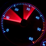 Accelerate. Moving RPM Meter in red and blue royalty free stock photo