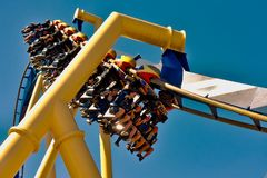 Accelerate descend in Montu Rollercoaster at Bush Gardens Tampa Bay. December 26, 2018 . Accelerate descend in Montu Rollercoaster at Bush Gardens Tampa Bay royalty free stock images