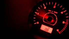 Accelerate!!! RED. Tachometer @ night - red (original version stock images