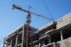 Accelerated construction of tall buildings stock image