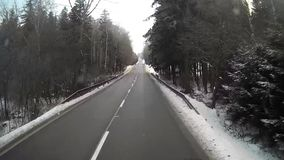 Accelerated footage of truck driving on sunny winter day stock video