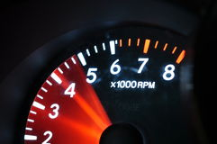 Acceleration. RPM gauge in a Toyota Highlander during acceleration stock images