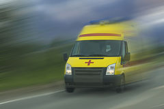 Acceleration of ambulance car. In erased movement stock photo