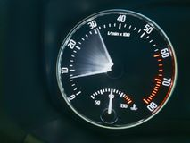 Acceleration of the car. Tachometer display in motion Royalty Free Stock Images