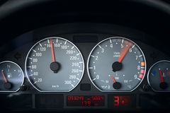 Acceleration. Dashboard of the sport coupe car, full acceleration moment Stock Photos