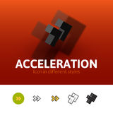Acceleration icon in different style. Acceleration color icon, vector symbol in flat, outline and isometric style isolated on blur background Stock Photography