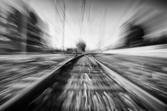 Acceleration on a railway. Moving at full speed on a railway. Black and white stock photos