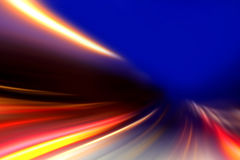 Acceleration speed motion. On night road royalty free stock photo