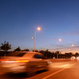 Acceleration speed. Motion on night road stock photo