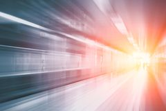 Acceleration super fast speedy motion blur of train station. High speed business and technology concept, Acceleration super fast speedy motion blur of train royalty free stock image