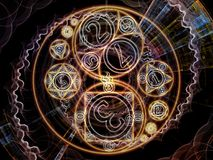 Acceleration of Symbolic Meaning. Numeric Connection series. Composition of number and fractal geometry symbols on the subject of magic, math and occult Stock Photos