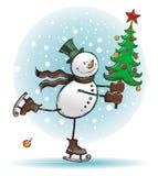 Accelero a voi con l'albero di Natale Fotografia Stock Libera da Diritti