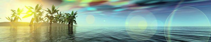 Accende il panorama sopra il mare tramonto ed isola illustrazione di stock