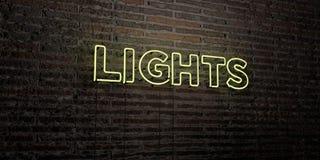 ACCENDE - insegna al neon realistica sul fondo del muro di mattoni - l'immagine di riserva libera della sovranità resa 3D Fotografia Stock