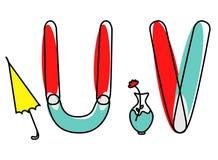 Accendent-Vektorguß Kinderalphabet mit Illustration stockbild