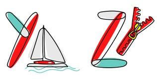 Accendent vektorstilsort Barnalfabet med illustrationen stock illustrationer