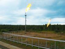Accensioni di gas di olio Burning Immagini Stock