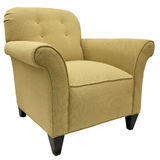 Accent Chair. Transitional Style Occasional Accent Chair with Dark Maple Legs Royalty Free Stock Image