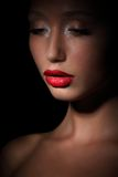 Accent. Highlight. Glamorous Exotic Asian Woman in Shadows. Evening Makeup Stock Images