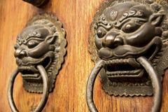 Accento della porta del drago del leone Fotografia Stock