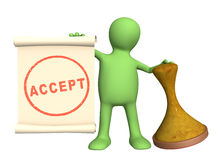 Accept. 3d puppet with an seal royalty free illustration