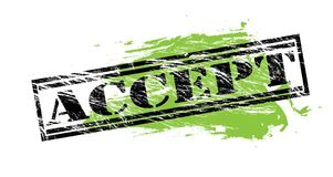Accept black and green stamp on white background. Accept black and green stamp stock illustration