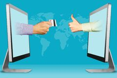 Accept card payments concept, two hands from laptops. hand with credit card and thumbs up, like. 3d illustration. Accept card payments concept, hands from Royalty Free Stock Photography