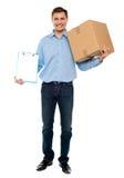 Accept carton please. Courier service Stock Image