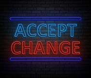 Accept change concept. 3d Illustration depicting an illuminated neon sign with an accept change concept Stock Photo