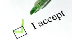 Accept checkboxes Stock Photo