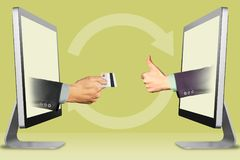 Accept credit cards concept, two hands from computers. hand with credit card and thumbs up, like. 3d illustration. Credit card accept concept, hands from laptops Royalty Free Stock Photography