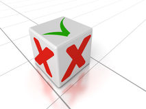 Accept and Decline. Black Check Mark and Cross in red check boxes. Accept and Decline concept. High quality 3D render Royalty Free Stock Photos