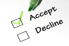 Accept decline. The close-up of a pen and white checklist with a checkboxes with words accept and decline stock photos
