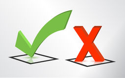 Accept and Decline check and x mark signs stock illustration
