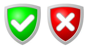 Accept and Deny security shields. Green accept and red deny security shields over white background Stock Photos