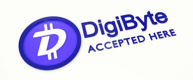 We accept DigiByte. 3D rendered DigiByte logo and text Stock Image