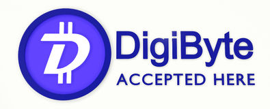 We accept DigiByte. 3D rendered DigiByte logo and text Stock Images