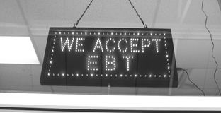 EBT acceptence sign royalty free stock photo