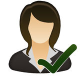 Accept female user icon Stock Images