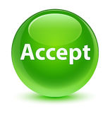 Accept glassy green round button Royalty Free Stock Photo