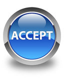 Accept glossy blue round button Stock Image